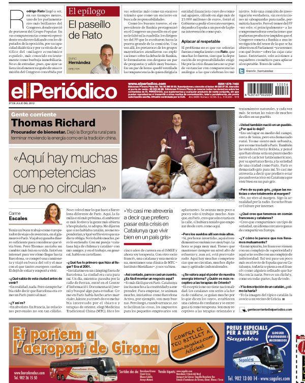 Entrevista a Thomas Richard en El Periódico de Catalunya 27/07/2012