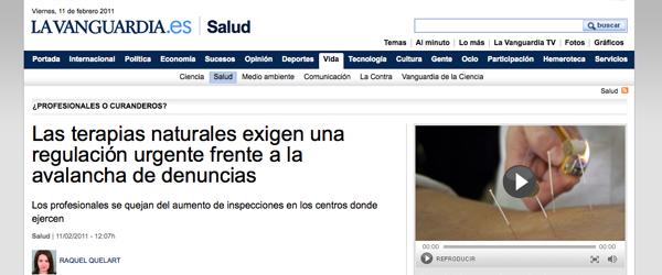 """""""Las terapias naturales exigen una regulación urgente frente a la avalancha de denuncias"""" - La Vanguardia 11/02/11"""